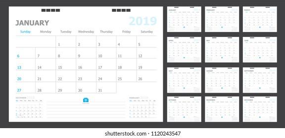 Calendar for 2019 blue background