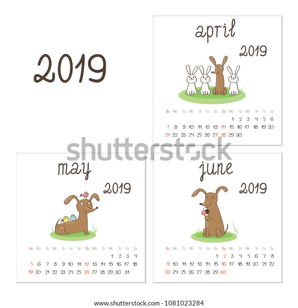 Calendar 2019 Brown Dog Dachshund Puppy Stock Vector (Royalty Free