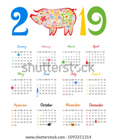 calendar 2019 chinese calendar for happy new year 2019 year of the pig week