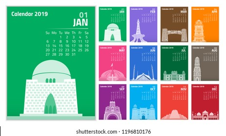 Calendar 2019. Colorful set on Pakistan's Monument theme Week starts on Sunday. vector of 2019 new year calendar in clean minimal table simple style and blue and orange yellow color on black backgroud