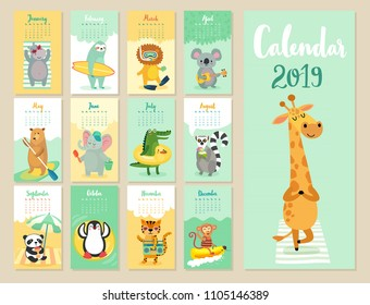 Calendar 2019. Cute monthly calendar with beach animals. Hand drawn style characters.
