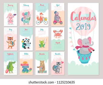 Calendar 2019. Cute monthly calendar with forest animals. Hand drawn style characters. Travel theme.