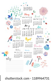 Calendar 2019. Cute printable creative template with floral elements
