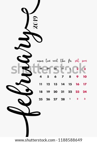 Calendar 2019 Design Page 2 12 Stock Vector Royalty Free