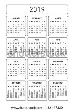 Calendar 2019 Design Printable A 4 Size Stock Vector Royalty Free
