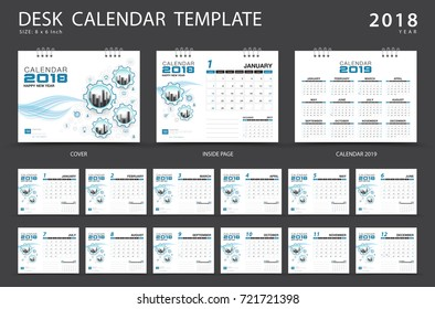 Calendar 2019 Desk Calendar 2018 Template Stock Vector Royalty Free