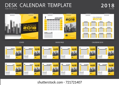 Calendar 2019, Desk calendar 2018 template. Set of 12 Months. Planner. Week starts on Sunday. Stationery design. advertisement. Business flyer. cover. Vector layout.
