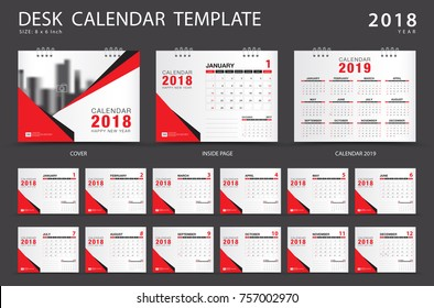 Calendar 2019, Desk calendar 2018 template. Set of 12 Months. Planner. Week starts on Sunday. Stationery design. advertisement. Vector layout. red cover. business brochure flyer.