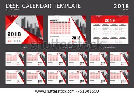 Calendar 2019 Desk Calendar 2018 Template Stock Vector Royalty Free