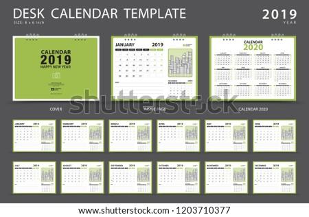 Calendar 2019 Desk Calendar Template Set Stock Vector Royalty Free