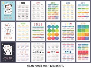 Calendar 2019. English colorful set. Week starts on Sunday. Pig. Cartoon piggy. Chinese horoscope. Happy New Year. Christmas card. Basic grid