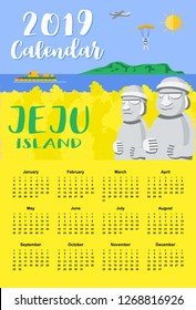 Calendar 2019, Flat design, Illustration Jeju Island background with canola field and rock statues, Vector