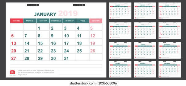 Calendar for 2019 green and red background