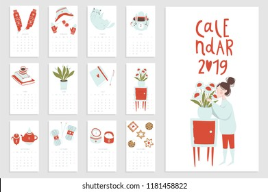 Calendar 2019 with hand drawn hygge elements. Cozy illustrations of girl, flowers, clothes ets. Stock vector. Red blue white