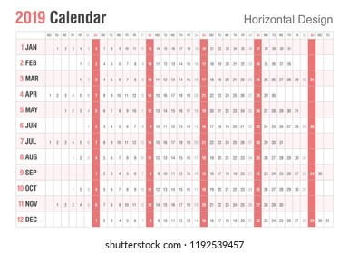 Calendar 2019 Horizontal Design. Sunday weekend.