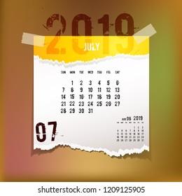 Simple 2019 Year Vector Calendar 2019 Stock Vector Royalty Free