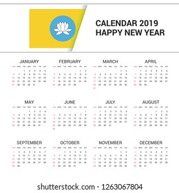 Calendar 2019 Kalmykia Flag background. English language