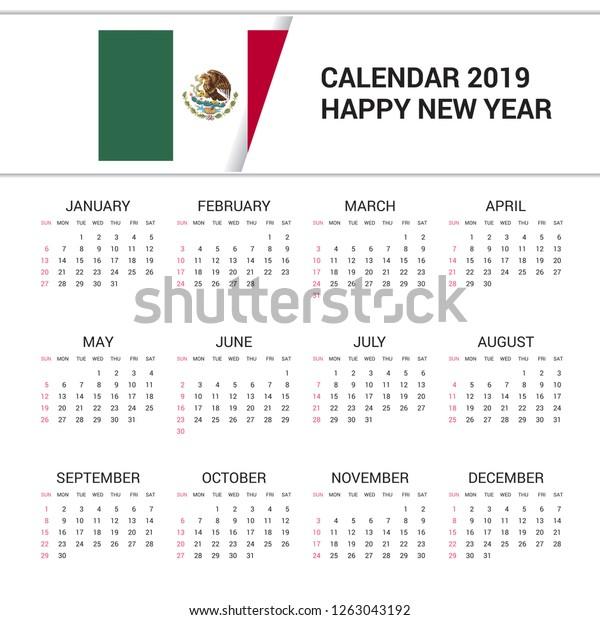 Mexico Calendar 2019 Calendar 2019 Mexico Flag Background English Stock Vector (Royalty