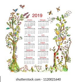 Calendar 2019 with nature frame elements - trees, flowers, birds, bees. Vector graphic illustration