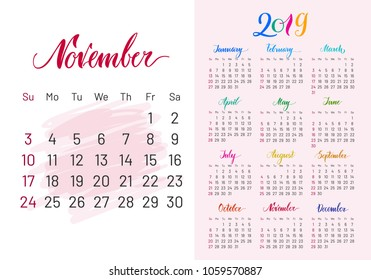 Calendar, 2019, November separately, white-pink background, lettering, artboard. Stylish annual planner for modern people. Vector illustration of chart