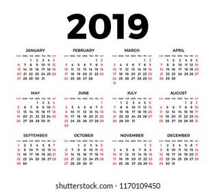 Calendar for 2019 on white background