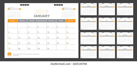 Calendar for 2019 orange background