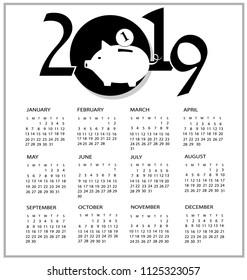 Calendar for 2019 with pig