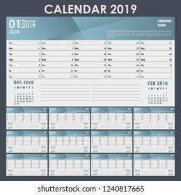 Calendar for 2019 with a place for the logo. Vector illustration.