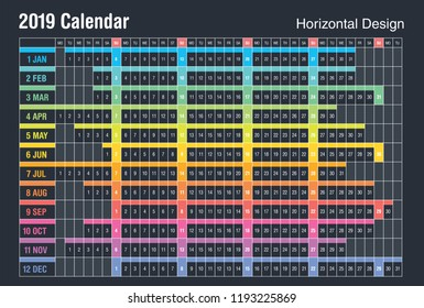 Calendar 2019 Planner Design. Full color in horizontal. Sunday weekend.
