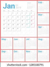 Calendar 2019 Planner Design. Starts Monday