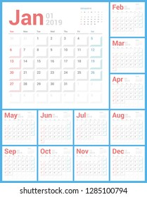 Calendar 2019 Planner Design. Starts Sunday