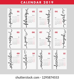 Calendar 2019 Poster White and Red. Design Layout. Diary 2019 Vector Template