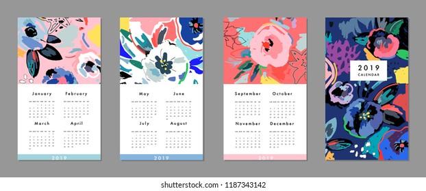 Calendar 2019. Printable creative template. Abstract modern art.