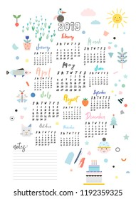 Calendar 2019. Printable creative template. Baby room decor. Cute poster for kids