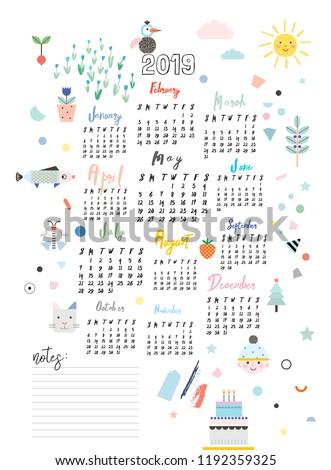 Calendar 2019 Printable Creative Template Baby Stock Vector Royalty