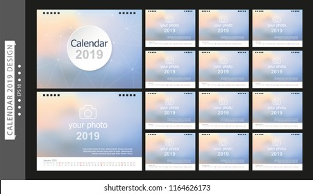 Calendar 2019, Set Desk Calendar template design with Place for Photo and Company Logo. Week Starts on Sunday. Set of 12 Months