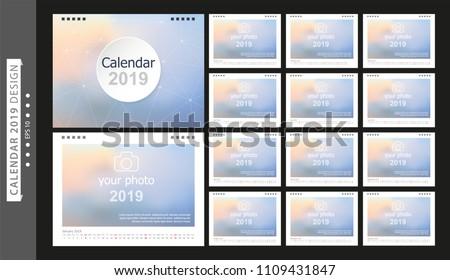 calendar 2019 set desk calendar template stock vector royalty free