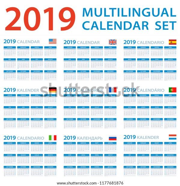 Calendario 2019 English.Calendar 2019 Set English American Spanish Stock Vector