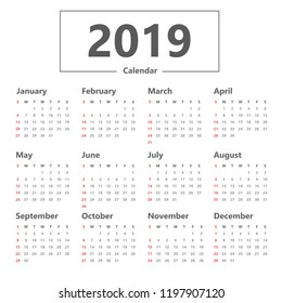 calendar 2019 simple style. vector on white background. Week starts Sunday.