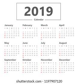 calendar 2019 simple style. vector on white background. Week starts Sunday.