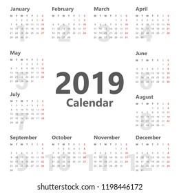 Calendar 2019 simple style. Vector on white background. Week Starts Monday.