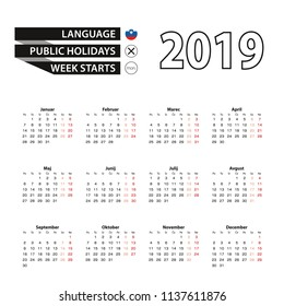 Calendar 2019 in Slovenian language, week starts on Monday. Vector calendar 2019 year.