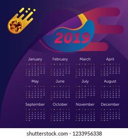 Calendar 2019. Space and meteorite illustration