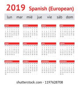 Calendar 2019 (Spain). European Spanish Calendar. Week starts on Monday