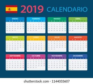 Calendar 2019 - Spanish Version - vector illustration