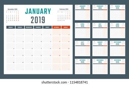 calendar for 2019 starts monday, vector calendar design 2019 year