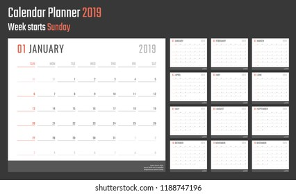 calendar for 2019 starts sunday, vector calendar design 2019 year