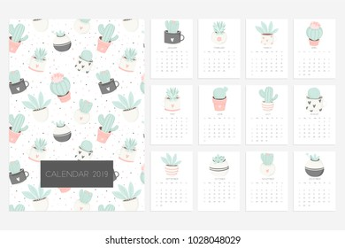 Calendar 2019. Stock vector. Fun and cute calendar with hand drawn succulents and cactus plants. Pink mint grey white