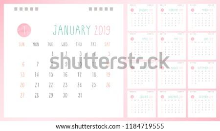 Calendar 2019 Template Design Set 12 Stock Vector Royalty Free