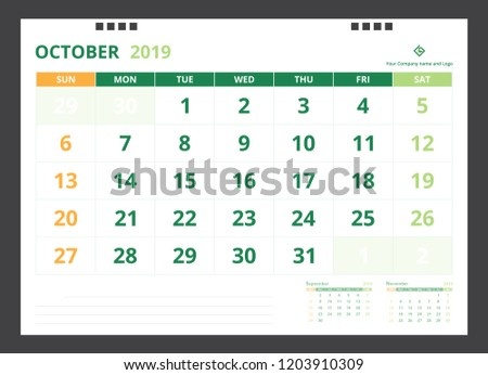 Calendar 2019 Template Design Size A 5 Stock Vector Royalty Free